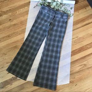 Gray Plaid Wide Leg Career Pants